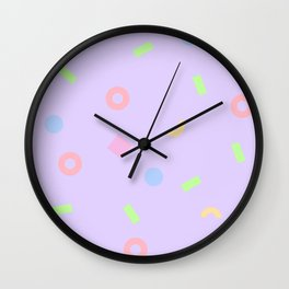 NEON LUNCH - 1980s 1990s inspired pastel neon pattern Wall Clock
