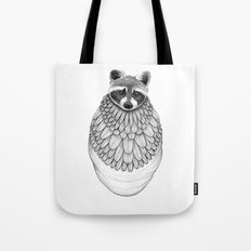 Raccoon- Feathered Tote Bag