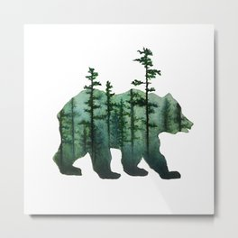 Bear and Forest Metal Print
