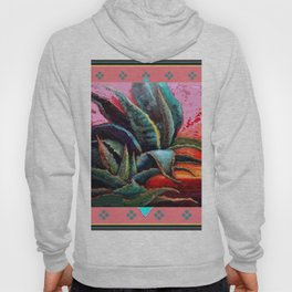 WESTERN PINK CORAL COLOR DESERT  BLUE AGAVE Hoody