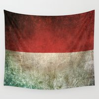 indonesia Wall Tapestries featuring Old and Worn Distressed Vintage Flag of Indonesia by Jeff Bartels