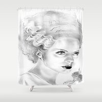 bride Shower Curtains featuring Bride by Leyla Buk