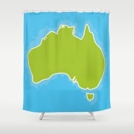 map of Australia Continent and blue Indian Ocean. Vector illustration Shower Curtain