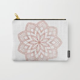 Mandala Posy Flower Rose Gold on White Carry-All Pouch