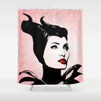 angelina jolie Shower Curtains featuring Maleficent - Angelina Jolie - Pop Art by William Cuccio aka WCSmack