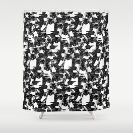just penguins black white Shower Curtain