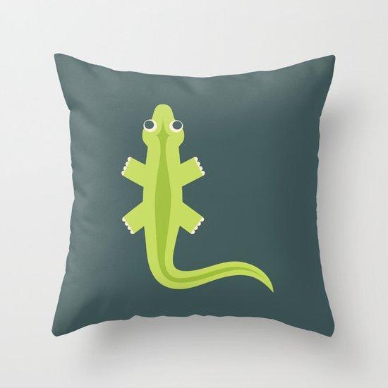 Letter L // Animal Alphabet // Lizard Monogram Throw Pillow