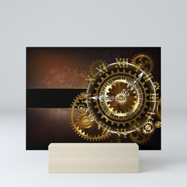 Steampunk Clock with Gears Mini Art Print