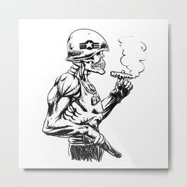 Military zombie - Skull military - zombie illustration Metal Print