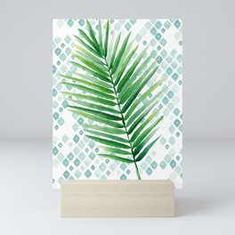 Tropical Palm Frond Watercolor Painting Mini Art Print