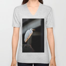 Great Egret at Sunset Unisex V-Neck