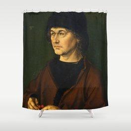 Albrecht Dürer the Elder with a Rosary by Albrecht Dürer Shower Curtain