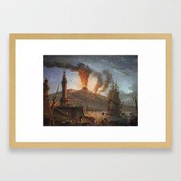Eruption of Vesuvius at Night by Charles François Lacroix Framed Art Print