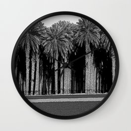 Black & White Date Palms Yuma Pencil Drawing Photo Wall Clock