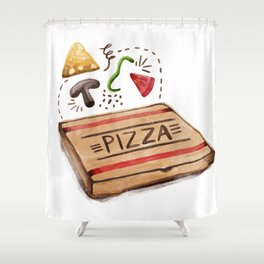 Pizzeria Pizza Box with The Works Toppings Shower Curtain