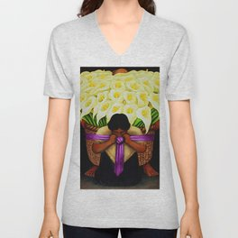 El Vendedor de Alcatraces (Lily Flower Seller with pink sash) by Diego Rivera Unisex V-Neck