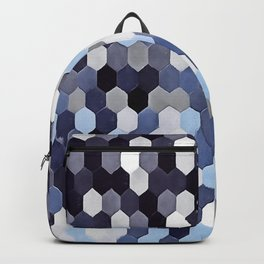 Honeycomb Pattern In Blue Tones Backpack