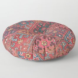 Rosette Diamond Stars II // 19th Century Colorful Red Black Dusty Blue Space Ornate Accent Pattern Floor Pillow