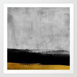 Black and Gold grunge stripes on modern grey concrete abstract backround I - Stripe - Striped Art Print