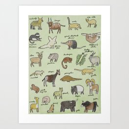 The Obscure Animal Alphabet Art Print