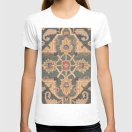 Geometric Leaves VI // 18th Century Distressed Red Blue Green Colorful Ornate Accent Rug Pattern T-shirt