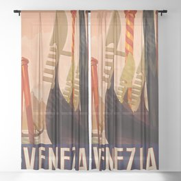 Vintage Travel Poster Venice Sheer Curtain