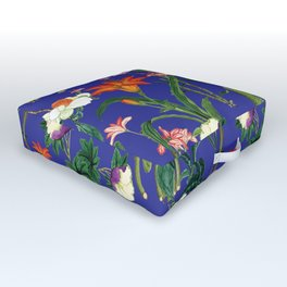 Vintage wild flowers blue Outdoor Floor Cushion