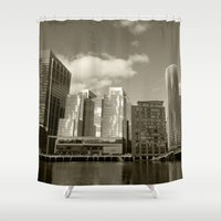 buildings Shower Curtains featuring City Buildings by BACK to THE ROOTS