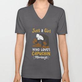 Capuchin Monkey Lover for Girls Unisex V-Neck