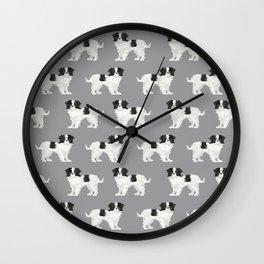 Japanese Chin dog breed cute illustration custom pet portrait by pet friendly Wall Clock