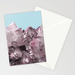 Pink Crystals on Light Blue Stationery Cards