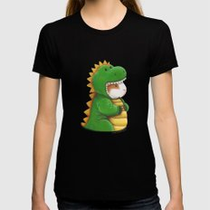 Guinea Pig in a Dinosaur Costume - Peegosaurus Rex SMALL Black Womens Fitted Tee
