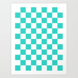 Checkered - White and Turquoise Art Print