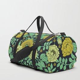 Seafoam Green, Chartreuse, Mustard Yellow & Navy Blue Floral Pattern Duffle Bag