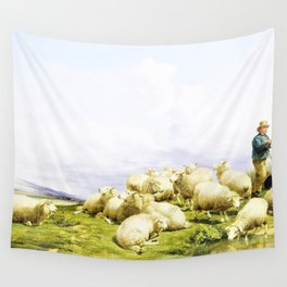Thomas Sidney Cooper - Shepherd with sheep - Digital Remastered Edition Wall Tapestry