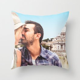 Couple kissing in Rome  Throw Pillow