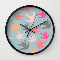 sloths Wall Clocks featuring Cute sloths pattern by Darish