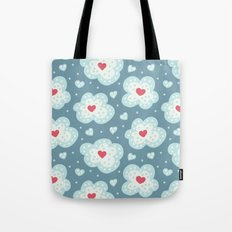 Winter Hearts And Snowy Clouds Tote Bag
