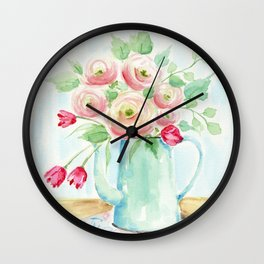 Tulips and French Enamelware Wall Clock