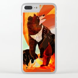 Taiga on fire Clear iPhone Case