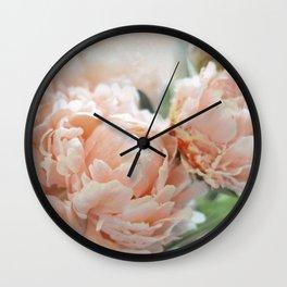 Peach Peonies Wall Clock