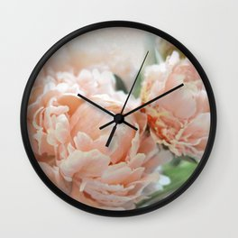 Peach Peonies Wall Clock
