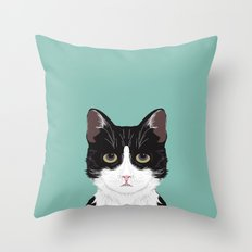 Quinn - Cute black and white cat tuxedo cat gifts for cat lady gift ideas cell phone case with cat Throw Pillow
