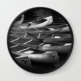Moored Kayaks Wall Clock