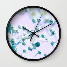 blossom buds with leaves - green, purple, yellow Wall Clock