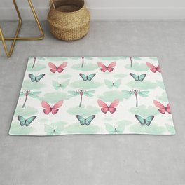 Pink teal watercolor clouds dragonfly butterfly pattern Rug