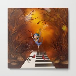 Fairy dancing on a piano Metal Print