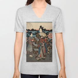 Garden of the Prosperous Blooms Triptych 2 Unisex V-Neck
