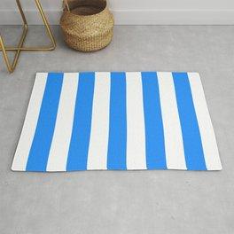 Dodger blue - solid color - white vertical lines pattern Rug