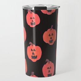 Halloween Jack-o-Lanterns on Black Travel Mug